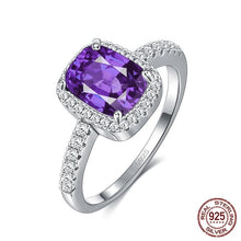 Charger l'image dans la galerie, Ring Emerald Gemstone Cubic Zirconia 6 Colors  Silver 925 Jewelry