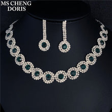 Carica l'immagine nel visualizzatore di Gallery, Luxury Royal Blue Crystal Bridal Jewelry Sets Rhinestone Statement Choker Necklace Earrings Women Jewelry Sets