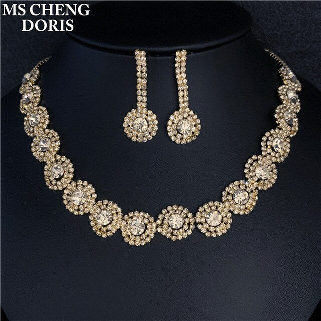Luxury Royal Blue Crystal Bridal Jewelry Sets Rhinestone Statement Choker Necklace Earrings Women Jewelry Sets