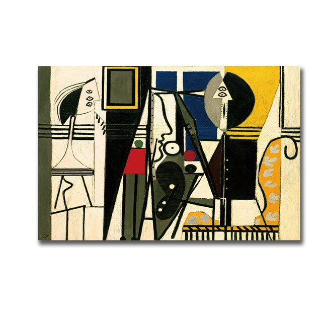 abstract Painter and Model Canvas Print