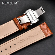 Carica l'immagine nel visualizzatore di Gallery, Genuine leather Watch Strap Butterfly Clasp watchband 16 17 18 19 20 21 22 24mm Watch Band With Watchband Box