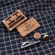 Cargar imagen en el visor de la galería, Wooden Necktie Clip Tie Bar Pin Button Set  Wood Cufflinks Pince Cravate Stropdas Men's Jewelry Gift Case