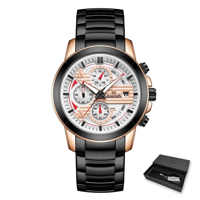 SWISH Silver Mens Watches Luxury Chronograph Wristwatch 2020