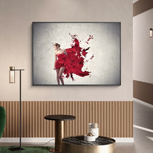 Load image into Gallery viewer, Modern Fashion Red Skirt Woman Oil Painting on Canvas Posters and Prints