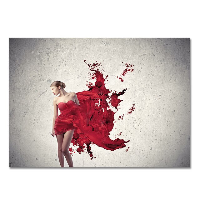 Modern Fashion Red Skirt Woman Oil Painting on Canvas Posters and Prints