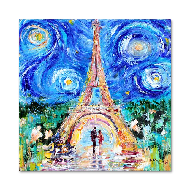 Tower in Starry Sky Oil Painting on Canvas Print Art
