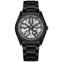 Charger l'image dans la galerie, Creative Turntable Calendar Watch Men Automatic Mechanical Watch Skeleton Military Sport Stainless Steel Strap Self Wind