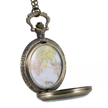 Load image into Gallery viewer, Pocket Watch World Map Roman Numeral Dial Clear Cover Vintage Quartz