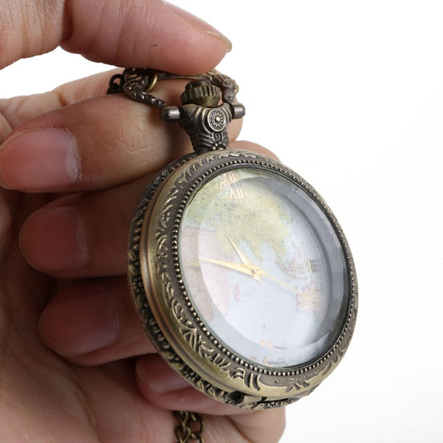 Pocket Watch World Map Roman Numeral Dial Clear Cover Vintage Quartz