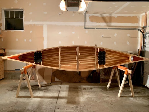 Profile view of wooden Prospector canoe hull interior