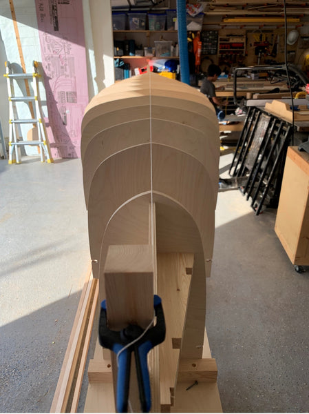 Freshly cut station molds installed on strongback