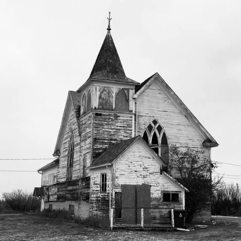 A dilapidated church in Saskatchewan, and the source of the repurposed wood for Doug Brentnell's canoe