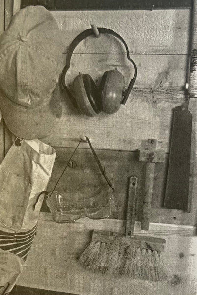 black and white photo of useful safety equipment for boat builders - ear protection and safety glasses