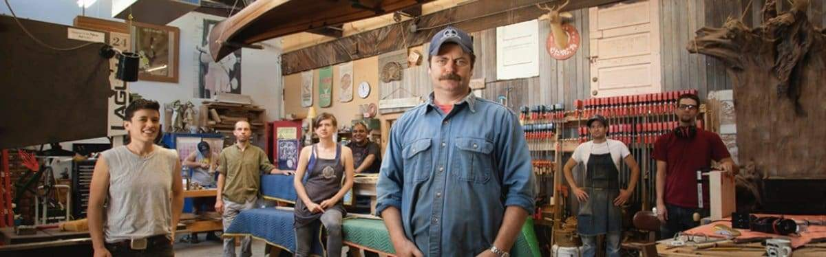 Woodworkers standing in Offerman Woodshop