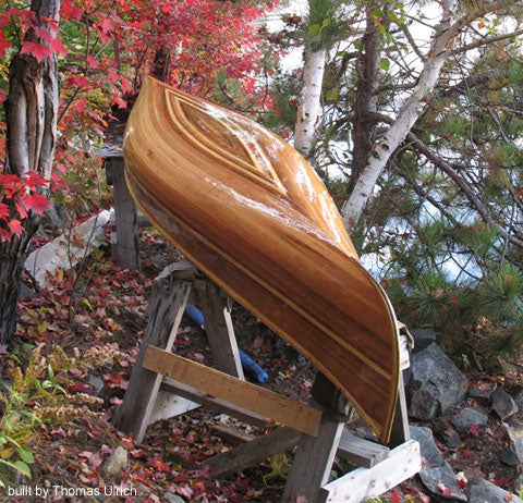Working with glue with planking your canoe