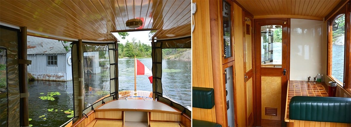 A two-panel image showing the view out the bow window of Sparks, and the interior of the cabin