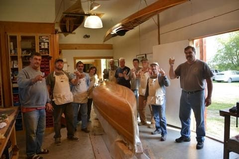 Celebrating A Job Well Done: Woodstrip Canoe Course September 27-October 3