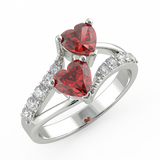 White Gold Double Heart Red Sapphire Stone Ring