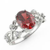 Silver Chunk Red Sapphire Ring