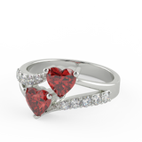 Double Red Sapphire Stone Ring