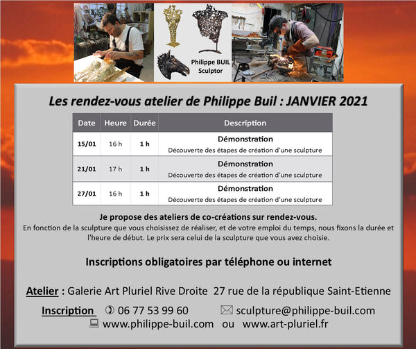 Appointment workshop Philippe Buil Sculptor January 2021