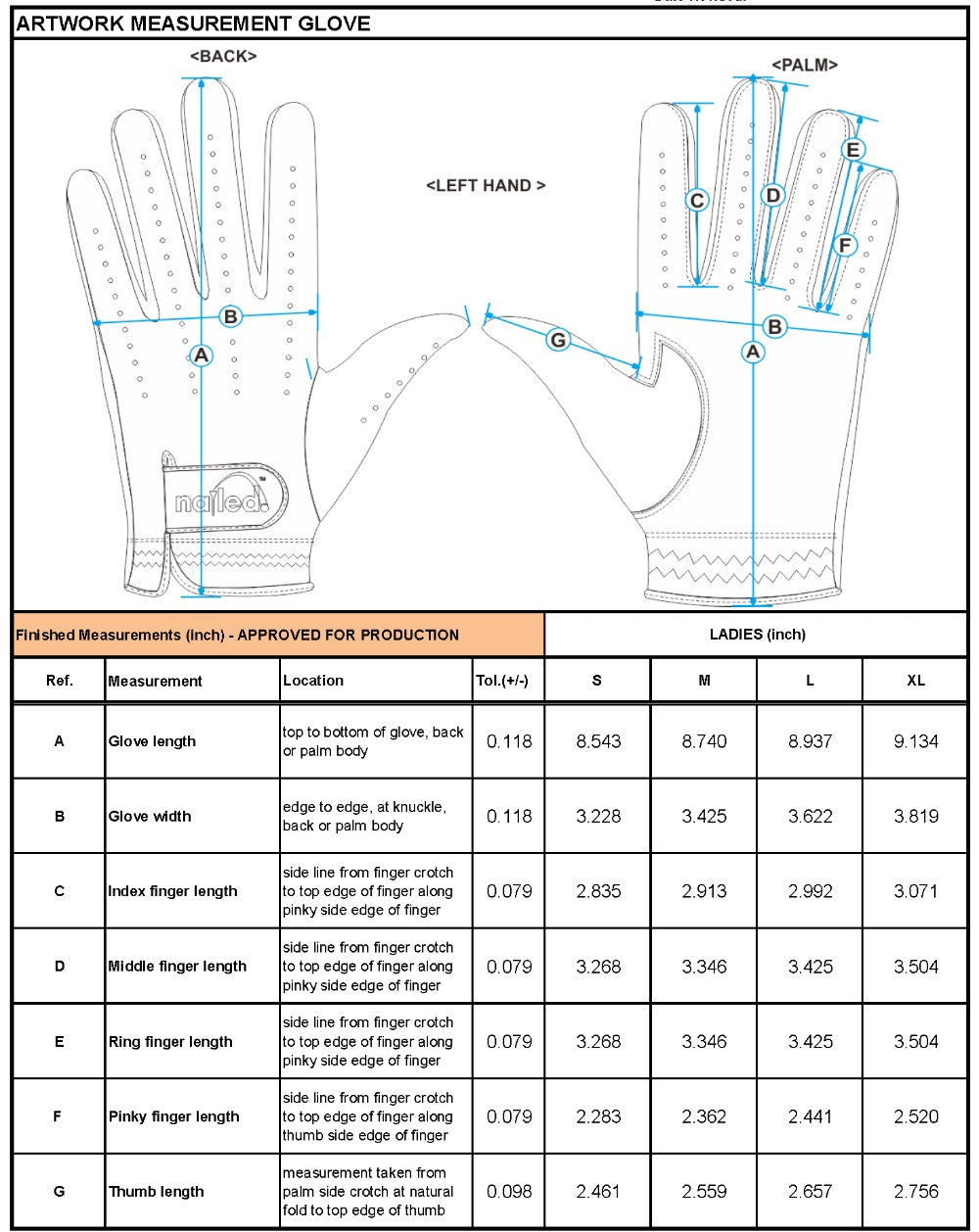 Elegance Collection (Elongated Sizing) Gloves