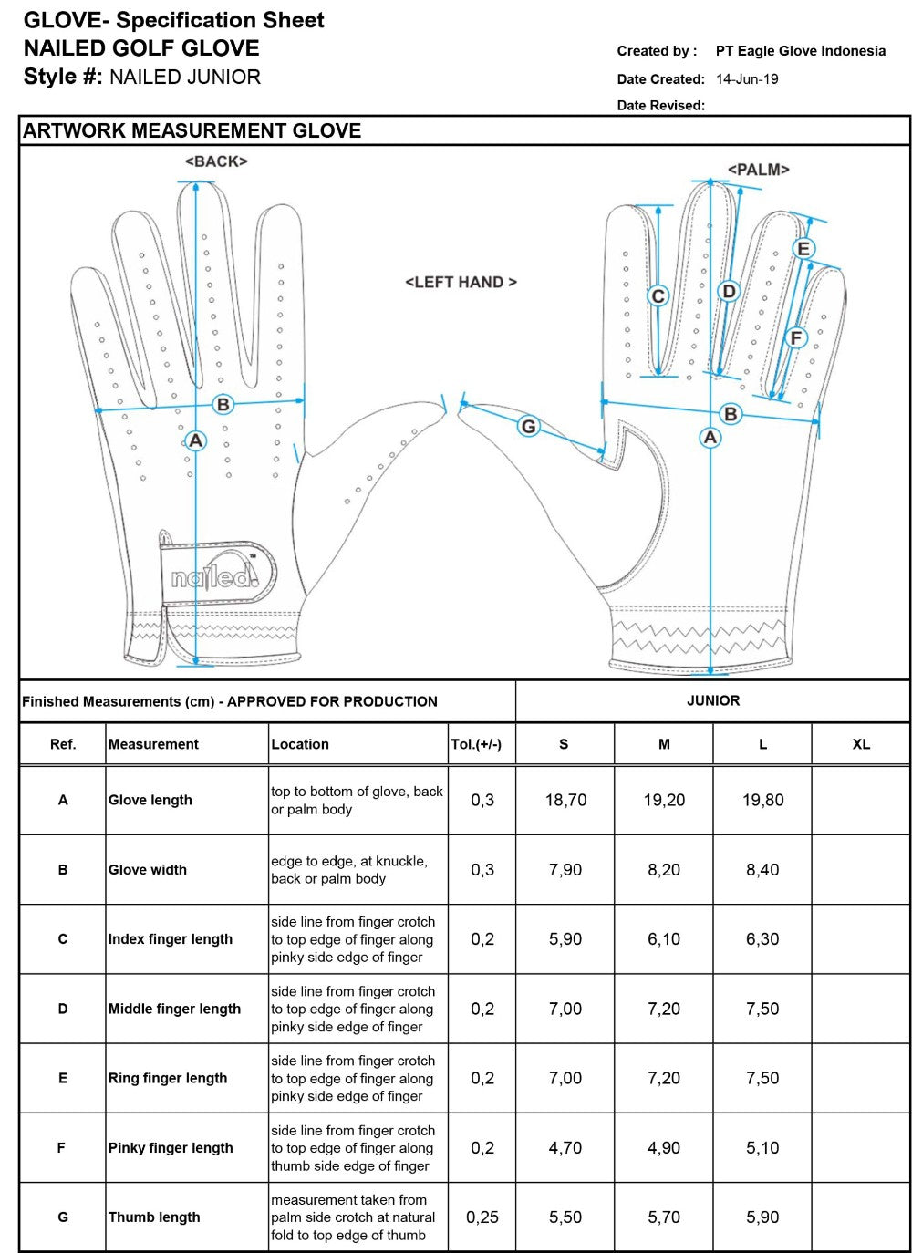 Youth Gloves Sizing Guide
