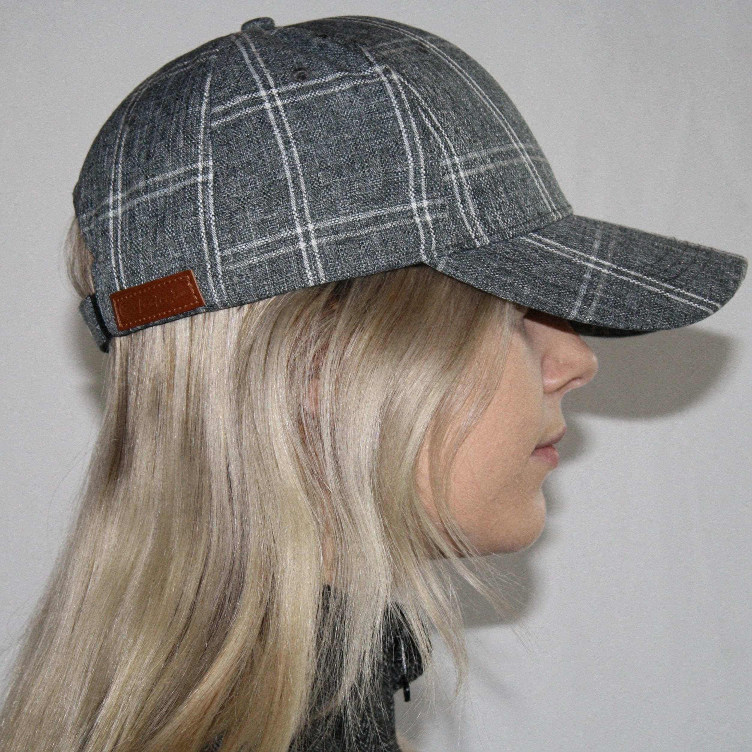 LTD Women's Golf Hat - Grey and White Plaid, Velcro Adjustable Fit