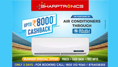 Buy new AC and TV at Sharptronics with cashback offer of up to Rs 8000