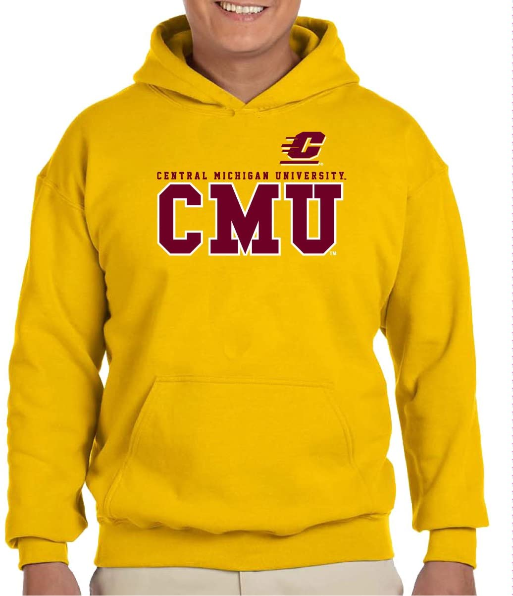 J2 Sport Central Michigan University Chippewas NCAA College Bold Adult Hooded Unisex Sweatshirt