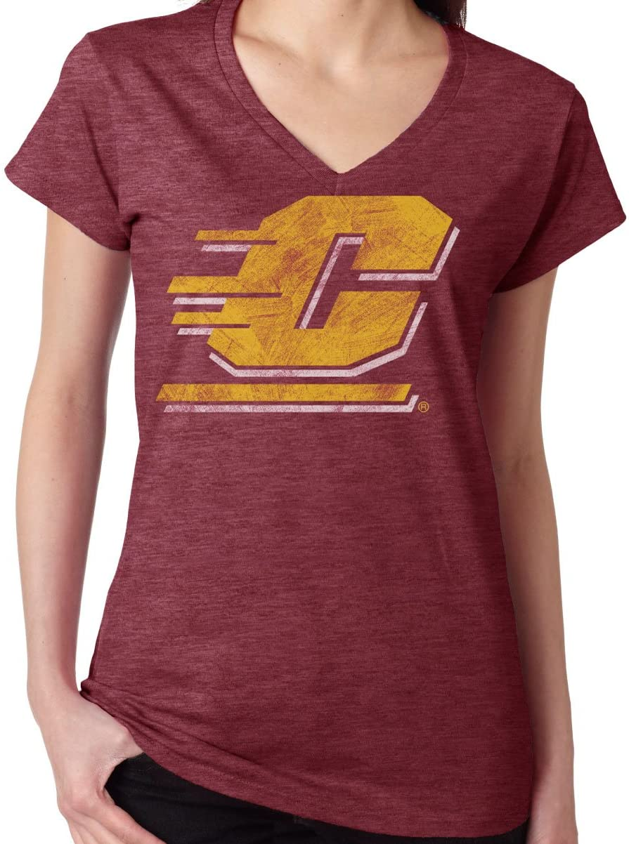 J2 Sport Central Michigan University Chippewas NCAA Washed Out Logo Maroon Junior T-Shirt