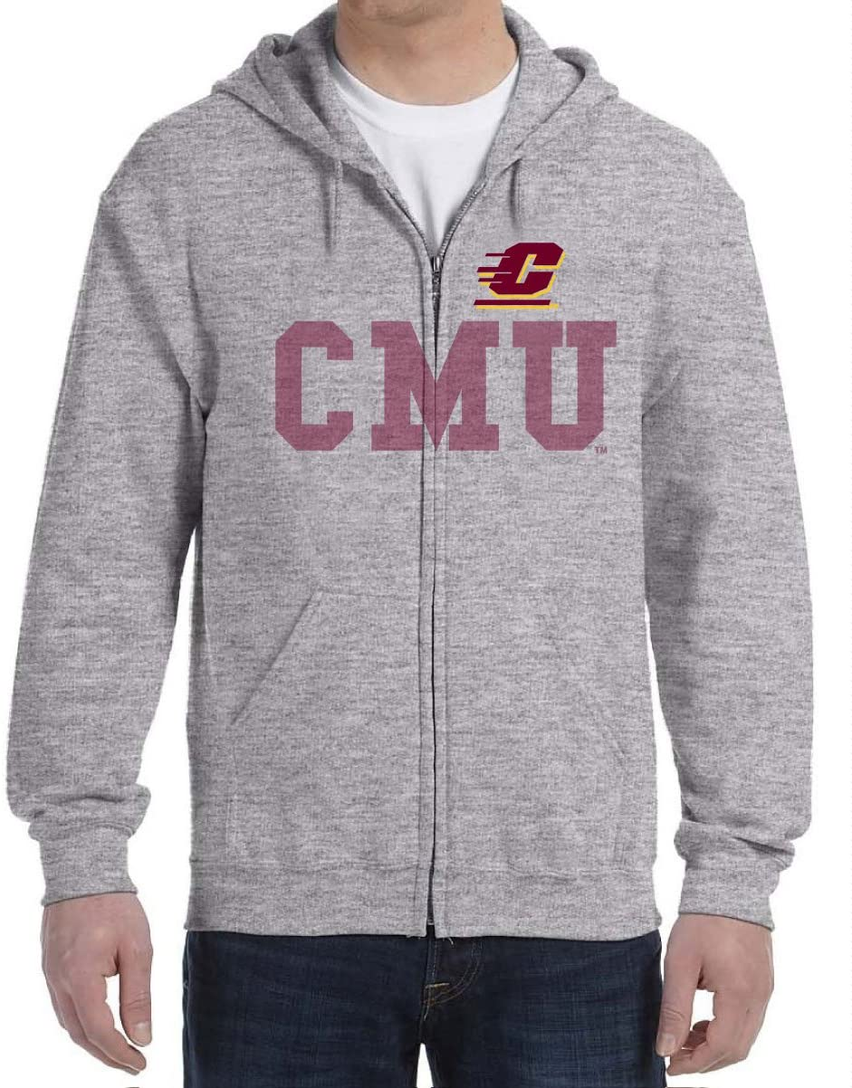 J2 Sport Central Michigan University Chippewas NCAA College Faded Adult Hooded Sweatshirt