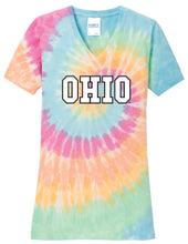 Load image into Gallery viewer, Ohio University Bobcats NCAA Tie Dye Women's Vneck T-Shirt