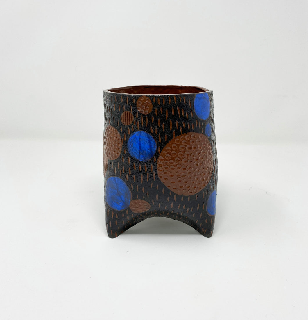 Blue Dot Ceramic Planter by Helen Casey