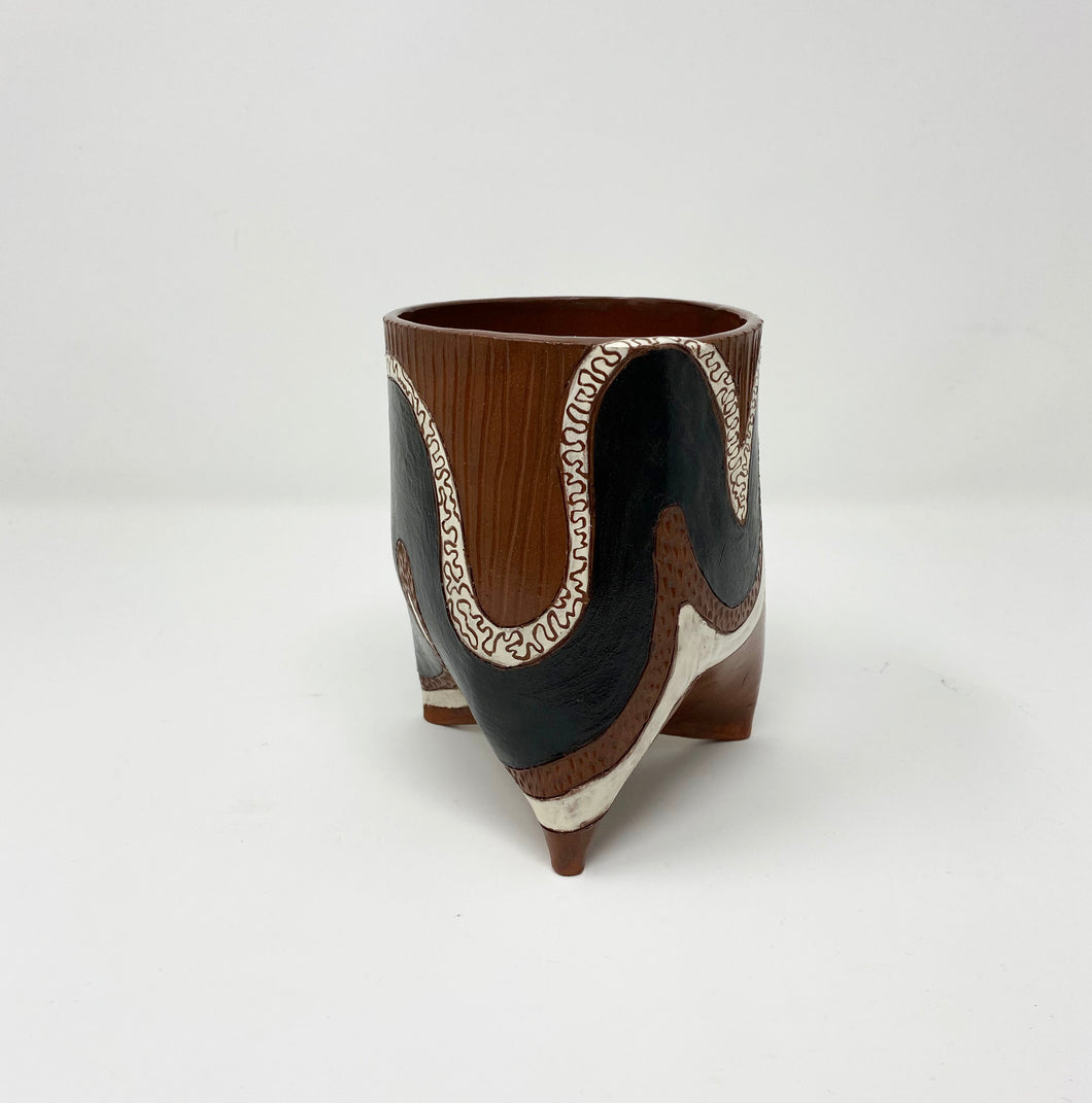 Squiggle Ceramic Planter by Helen Casey