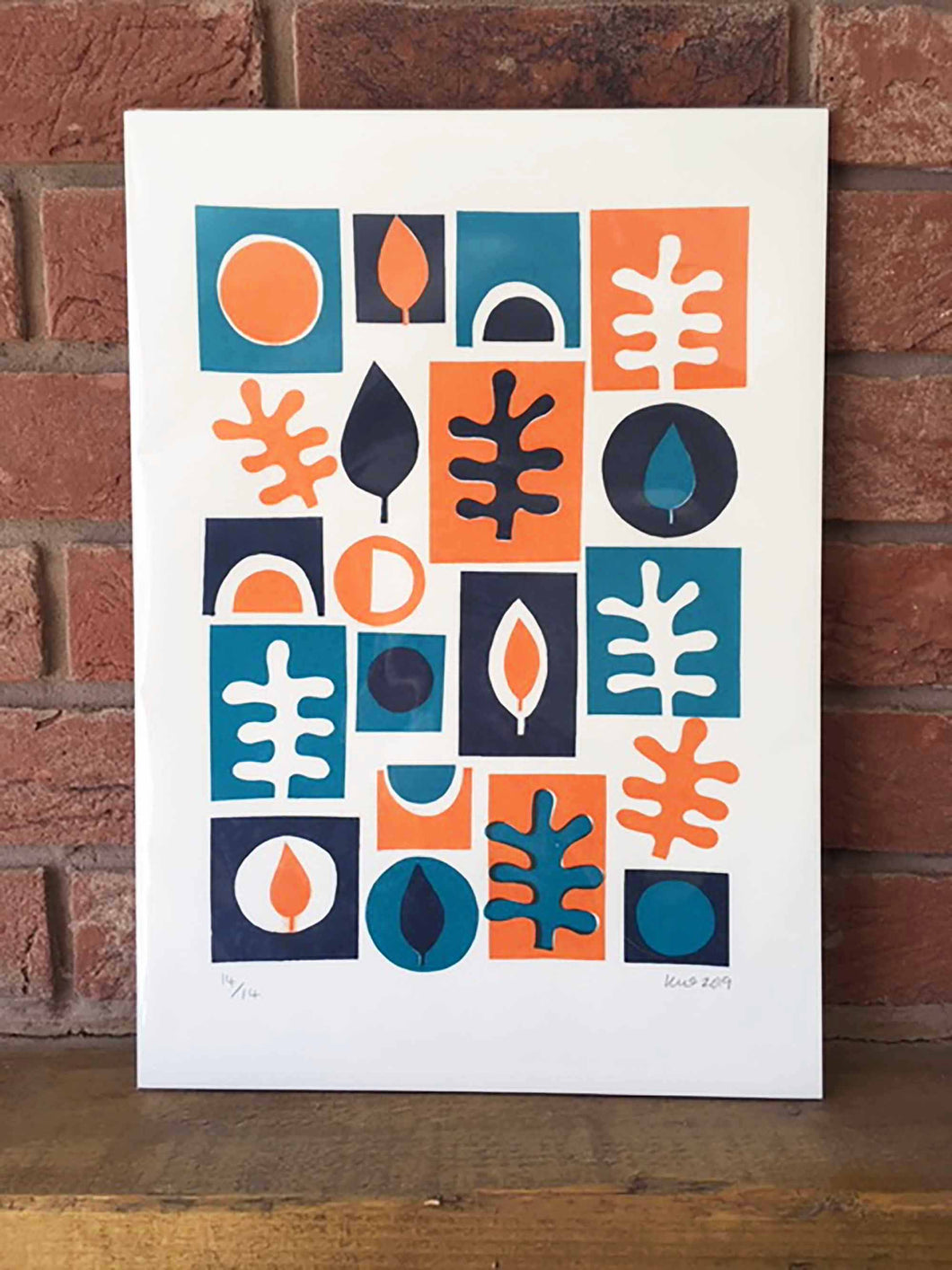 1950s Shapes Screen Print – Orange & Navy by Kirstie Williams