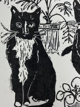 Load image into Gallery viewer, Cats & Plants Lino Cut Print by LDM Designs