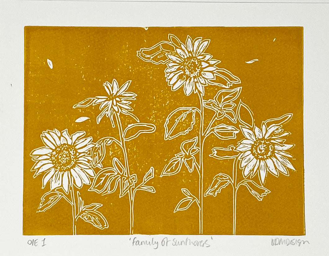 Sunflowers Lino cut print by LDM Designs