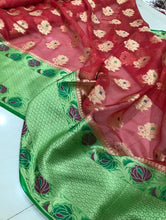 Load image into Gallery viewer, Banaras handloom warm silk tissue Sarees with brocade blouse