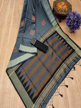 Load image into Gallery viewer, Banglori Raw Silk Saree with Contrast Ikkat Woven Pallu