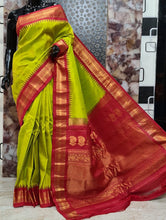 Load image into Gallery viewer, Gadwal pure silk sarees with temple border