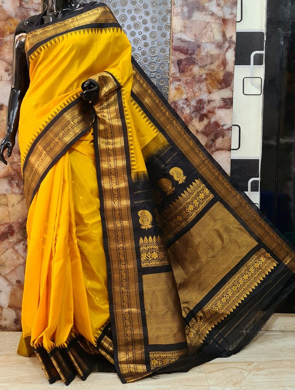 Gadwal pure silk sarees with temple border