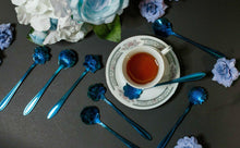 Load image into Gallery viewer, Cobalt Bouquet of Flower Tea Spoons - UndyingMemories
