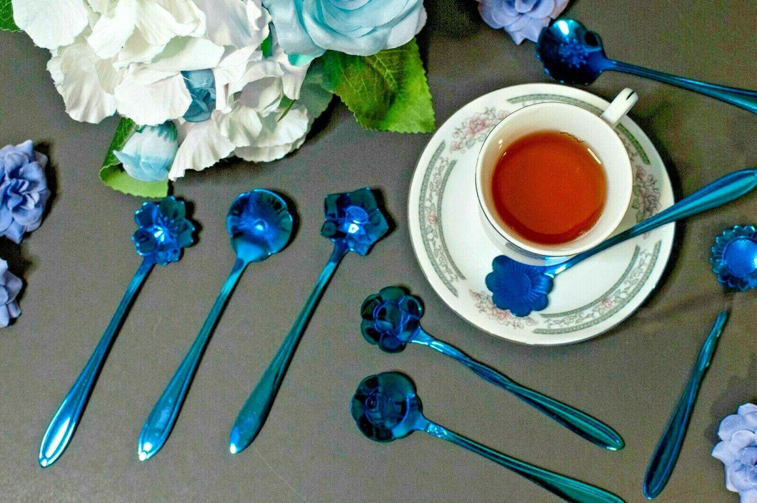 Cobalt Bouquet of Flower Tea Spoons - UndyingMemories