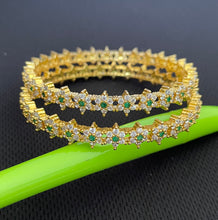 Load image into Gallery viewer, Sri fashion jewellery Designer Bangles - Green/White Stones