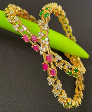 Load image into Gallery viewer, Sri fashion Jewellery Bangles - Green/Pink/White Stones
