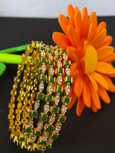 Load image into Gallery viewer, Sri fashion jewellery Bangles - Green and Cz Stones