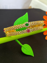 Load image into Gallery viewer, Sri fashion jewellery Designer Bangles - Green/White/Pink Stones