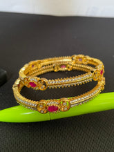 Load image into Gallery viewer, Sri fashion jewellery Designer Bangles - Pink/White Stones