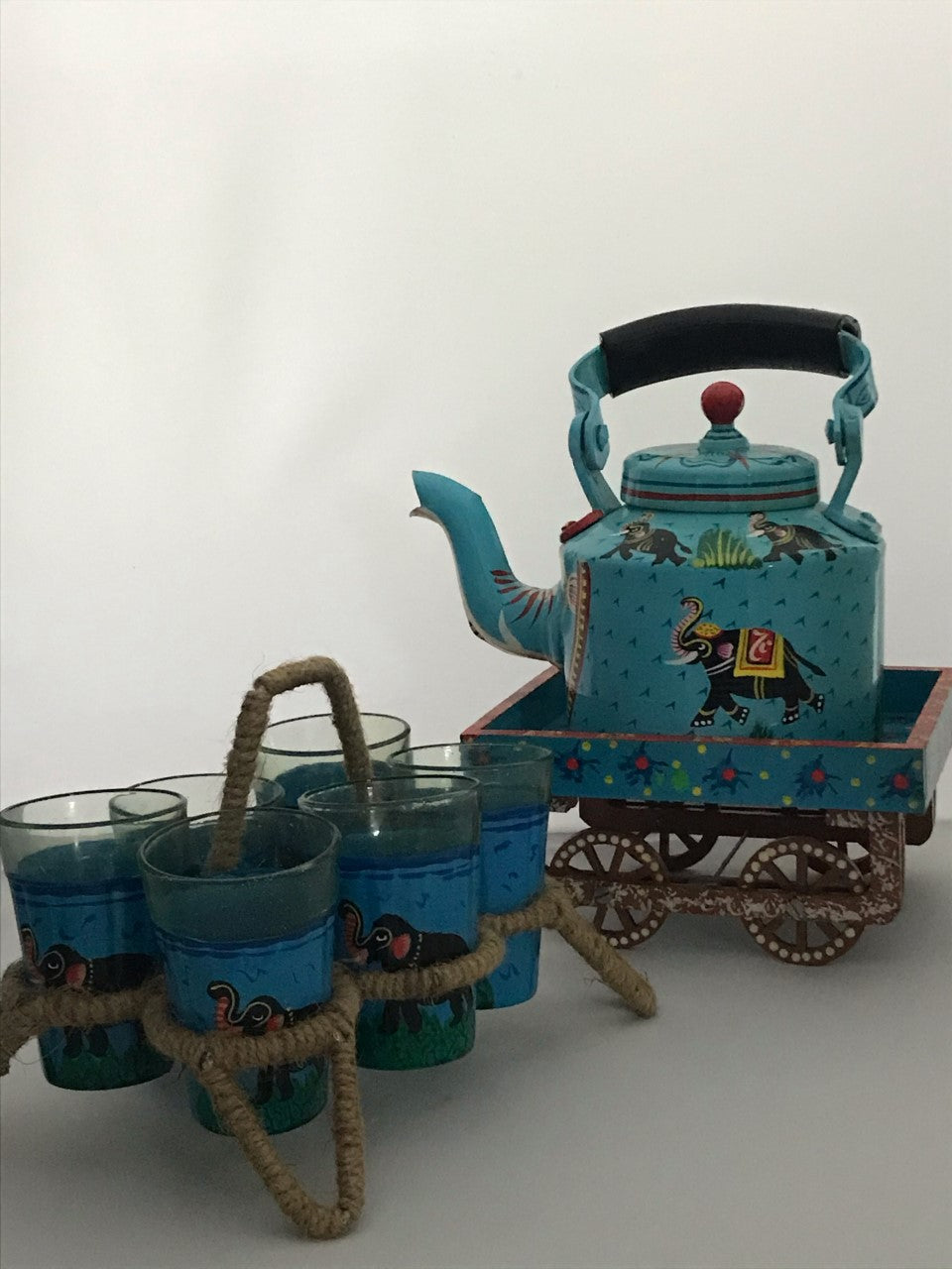 3 Piece Indian Tea Set - 6 Cups, 1 Teapot, 1 Rolling Stand